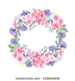 Watercolor illustration. Floral wreath with leaves,sakura and blue flowers. Perfect for Wedding invitation, greeting card, postcard, poster, textile, print etc.