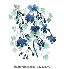 watercolor illustration of flowering branches -1