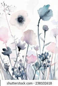 Watercolor illustration of flowers.