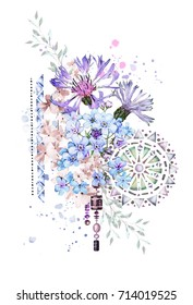 watercolor illustration with  flowers. background with flowers - cornflower, me-nots and splash paint, patterned mandala. Cool print on  shirt. Vintage ornaments