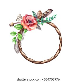 watercolor illustration, flowers and feathers, rustic floral clip art, round frame, blank banner, boho wedding card template, wreath design, isolated on white background