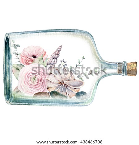 Watercolor Illustration With Flowers Inside Bottle It Can Be Used For Cards Postcard Poster Valentines Card Wedding Invitation Birthday