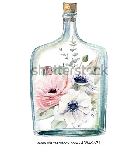 Watercolor Illustration With Flowers Inside Bottle It Can Be Used For Cards Postcard