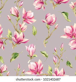 Watercolor illustration of a with flowers pink Magnolias. Pattern on isolated gray background for your design, wrapping paper etc