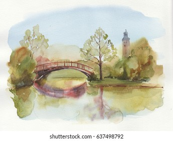 Watercolor illustration with forest view with wooden bridge. Can be used for tourist guide, invitation.