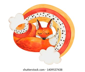 Watercolor illustration fox and rainbow on isolated white background, watercolor hand drawing