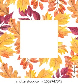 Watercolor illustration. Frame of autumn leaves. Square. Leaves of maple, oak, acacia. Autumn holidays. Design around the edge. Thanksgiving Day. Harvest. White background. Wedding invitation.