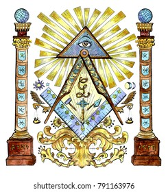 Watercolor illustration with freemason and mysterious symbols isolated on white. Secret societies emblems, occult and spiritual mystic drawings. Tattoo fantasy design, new world order