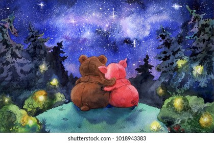 Watercolor illustration. Friends watching the Stars in deep forest at night. Fairytale mystery cartoon art, a Bear and a Pig hugs.
