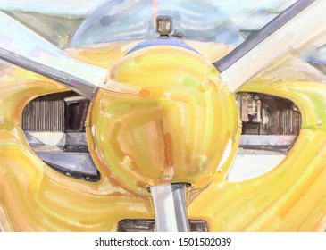 watercolor illustration: Front view of a single engine propeller aircraft