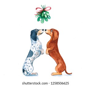 Watercolor illustration of a funny dogs. Christmas. Hand made cartoon character.