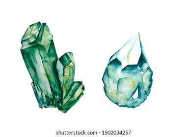 Watercolor illustration of gem stones, crystal, emerald green, isolated on white background