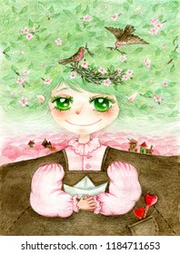 watercolor illustration with a gentle girl-spring with a paper boat in her hands