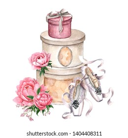 Watercolor illustration of gift boxes and ballet shoes