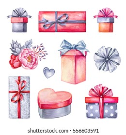 watercolor illustration, gift boxes pile, floral decoration, Valentine's day clip art, birthday presents, design elements isolated on white background