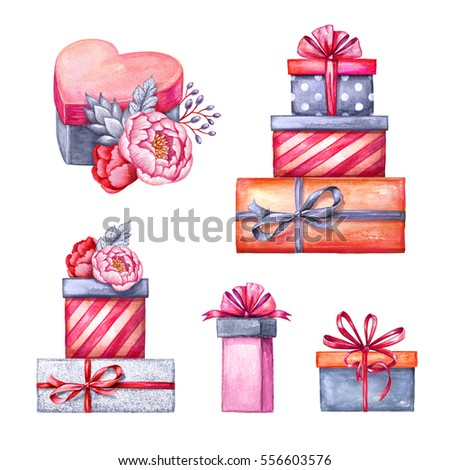 Watercolor Illustration Gift Boxes Pile Floral Stock Illustration