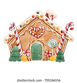 watercolor illustration of gingerbread house, caramel and candy, Christmas greeting card. gingerbread