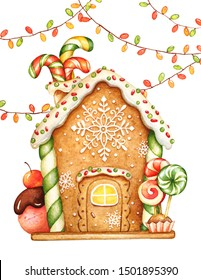 Watercolor illustration of gingerbread house with glaze, sweets and garlands. Christmas holiday mood.