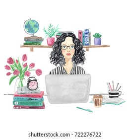 Watercolor illustration of a girl blogger sitting at desk with a laptop