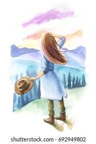 Watercolor illustration. Girl with lon hair standing on a mountain with a hat