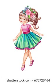 watercolor illustration, girl in pink top and green skirt, cute little coquette, ballerina, isolated on white background