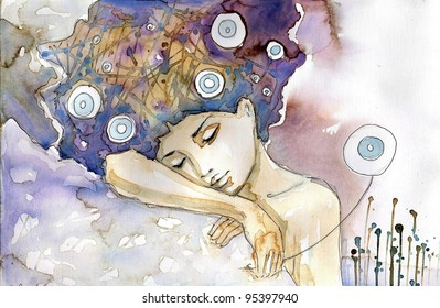Watercolor illustration of a girl sleeping