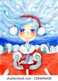 watercolor illustration with a girl-in winter, with skates in her hands