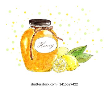 watercolor illustration of a glass jar with amber honey and yellow juicy lemons with young green leaves