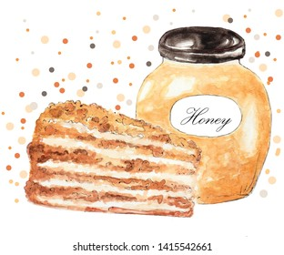 watercolor illustration of a glass jar with amber honey and honey cake