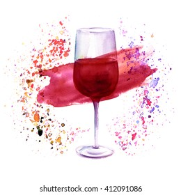 A watercolor illustration with a glass of red wine in a circle of splashed paint of various colors, a festive design