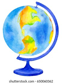 Watercolor illustration Globe Earth model. School Elements