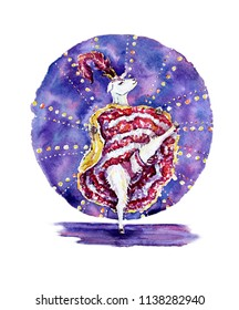 watercolor illustration of a goat in a skirt of a dancing cancan against a dark blue circle