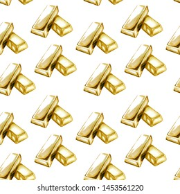 Watercolor illustration of gold bullion pattern on white background