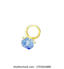 Watercolor illustration, Gold ring for 12 Days of Christmas Charms