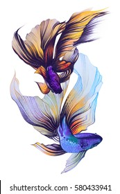 Watercolor illustration with golden fish, veiltail. Hand drawing llustration, color pencil. Graphic art. It may be used for poster, design of a t-shirt, postcard, case and bag. Tattoo design