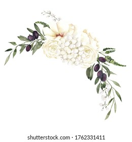 Watercolor illustration with greece olives and pretty flowers, isolated on white background