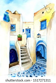 Watercolor illustration of greek street