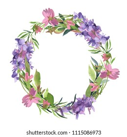Watercolor illustration. green leaves wreath of green branch with pink and purple wildflower isolate on white background, Round frame of simple leaves