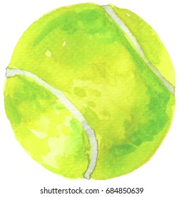 Watercolor illustration of green tennis ball isolated on white background