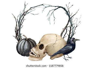 watercolor illustration, greeting card for helloween with place for text, black pumpkin, crow, pumpkin with face