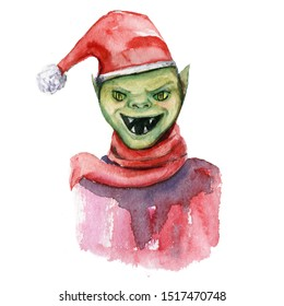 watercolor illustration of grinch or green goblin