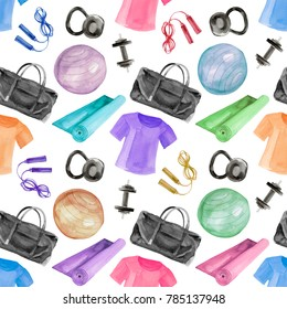 Watercolor illustration of gym, yoga or pilates female pattern set including ball, mat, bag, weight and t-shirt isolated on white background