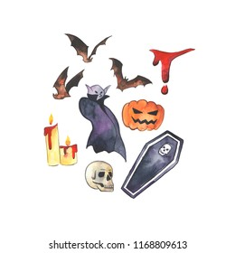 "Watercolor illustration of Halloween caracter ""Vampire"" with suitable accsessories and animals. Hand drawn pictue for Halloween design, card, print or poster."