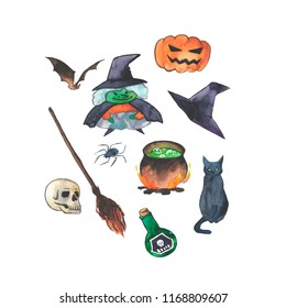 "Watercolor illustration of Halloween caracter ""Witch"" with suitable accsessories and animals. Hand drawn pictue for Halloween design, card, print or poster."