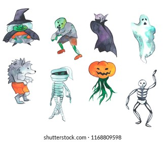 Watercolor illustration of Halloween caracters: witch, zombie, vampire, ghost, werewolf, evil pumpkin, mummy and skeleton. Hand drawn pictue for Halloween design, card, print or poster.
