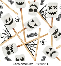 Watercolor illustration of Halloween holiday season scary decor desserts for trick or treat. Marshmallow set with scary mood faces together with candies and spider web isolated on white background