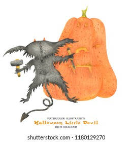 Watercolor illustration for Halloween. Little devil engraves a pumpkin. Isoalted, path included