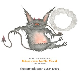 Watercolor illustration for Halloween. The little devil fires smoke rings. Isolated, path included
