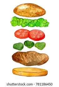 """Watercolor illustration """"Hamburger"""". Isolated objects, hand drawing. Ingredients, a recipe, a salad, a tomato, bread, a cutlet, cucumbers. Design of the menu, design of cafe, interior,  packing"""