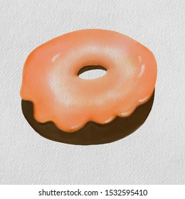 Watercolor illustration, hand drawn and brush paint on texture white paper. Glazed donut, orange topping on chocolate doughnut. Party menu, food illustration concept.